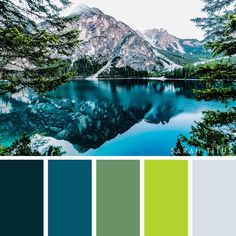 Find color inspiration whether for home decor , wedding , party, pretty green blue and grey landscape color inspiration color palette Green Colour Palette, Green Colors, Colours, Bedroom Color Schemes, Colour Schemes, Bedroom Colors, Ideas Decoracion Salon, Palette Design, Style Deco