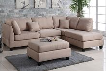 "On Sale Now $637 Poundex 3-Pcs Sofa Set w Ottoman Polyfiber ""Sand"""