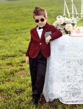 Cool Burgundy Jacket Checked Patch White Shirt Kid's Ring Bearer Suit -No.1
