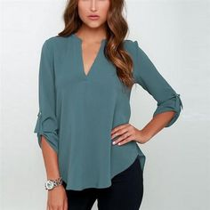 Check out the price on this one! What a deal! *Online Exclusive... Shop it here now http://www.rkcollections.com/products/roll-sleeve-chiffon-blouse?utm_campaign=social_autopilot&utm_source=pin&utm_medium=pin