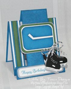 Little Big Town Designs: Funky Folded Card for My Favourite Canucklehead Hockey Birthday, Teen Birthday, Birthday Wishes, Male Birthday, Sports Birthday, Happy Birthday, Homemade Birthday Cards, Birthday Cards For Boys, Homemade Cards