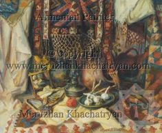 Still-life with mirrors with attributes of the Armenian culture.