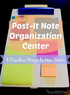 Need to organize your Post-it® Notes. Sick of seeing them all over the house or not fiding them at all. You will love this Post-it Notes Organization Center School Office Organization, Organization Lists, Organization Station, Organisation Hacks, Organising Tips, Office Fun, Filofax, Study Planner, Sticky Notes