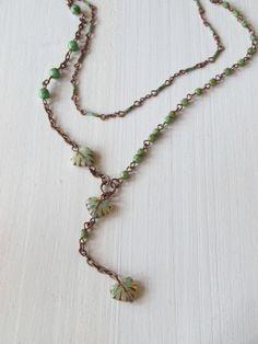 Длинное колье: Зелёные листики и бусины | vintajou
