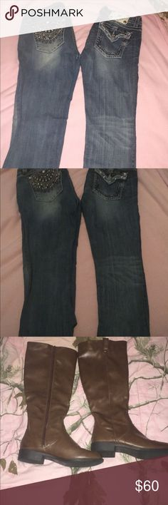 Miss me capris and boots Miss mes size 29 and 27 boots size 6  Boots 15$ Miss Me Pants Capris