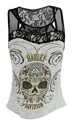 bikeraa.com harley-davidson-womens-tank-top-embellished-sugar-coated-skull-hd415-025m-m
