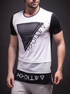 E1 Men Zip Triangle Mesh T-shirt - White
