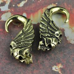 Double Skull with Feathers Brass Ear Weights Hangers
