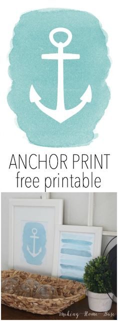 Free Anchor Printable Download. Cute beach theme home decor!