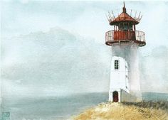 Find images and videos about watercolor and lighthouse on We Heart It - the app to get lost in what you love. Watercolor Sea, Watercolor Cards, Watercolour Paintings, Watercolours, Lighthouse Painting, Lighthouse Pictures, Art Aquarelle, Sketch Painting, Easy Paintings