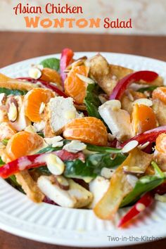 Asian Chicken Salad with Crispy Wontons on MyRecipeMagic.com. The perfect salad for dinner!
