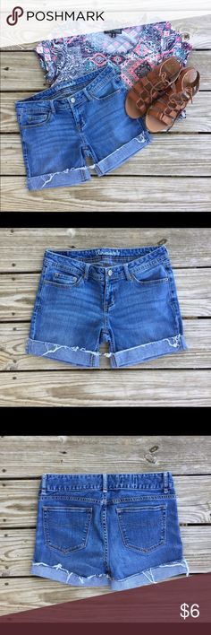 Aeropostale Cuffed Shorts Shorts made from an older pair of Aeropostale Chelsea boot cut jeans. Size 6. Measurements taken flat, I do not model 😊.                                                                       WAIST - approximately 14 and 1/2 inches.                          LEG OPENING - approximately 9 inches Aeropostale Shorts Jean Shorts
