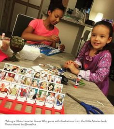 Making a Bible character Guess Who game with illustrations from the Bible Stories book. Photo shared by Family Worship Night, Family Night, Bible Story Book, Bible Stories, Bible Games, Bible Activities, Caleb Y Sofia, Jw Bible, Pioneer Gifts