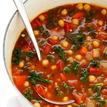 This 20-Minute Moroccan Chickpea Soup recipe is full of rich flavors, and incredibly quick and easy to make.   gimmesomeoven.com (Vegetarian / Vegan / Gluten-Free) Soup Recipes, Vegetarian Recipes, Cooking Recipes, Healthy Recipes, Healthy Soups, Vegetarian Times, Cooking Ideas, Diet Recipes, Food Ideas