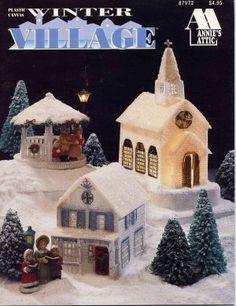 Plastic Canvas Pattern Books | Winter Village Plastic Canvas Pattern Book House, Church, Toy Shop ...