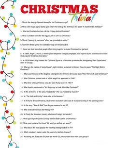 Christmas Trivia Questions, Christmas Trivia Games, Trivia Questions And Answers, Holiday Games, Printable Christmas Quiz, Question Game, Days Before Christmas, Games For Kids, Make It Yourself