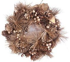 Dekoracyjny wieniec bożonarodzeniowy sosna, brązowy, śr. 27 cm