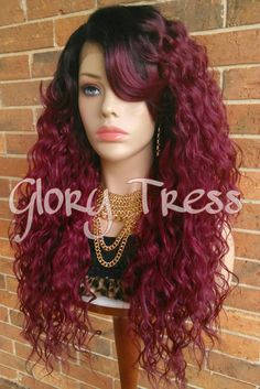 ON SALE // Long Wavy Lace Front Wig, Ombre Burgundy Wig, Dark Rooted Wig / ANGEL (Free Shipping)