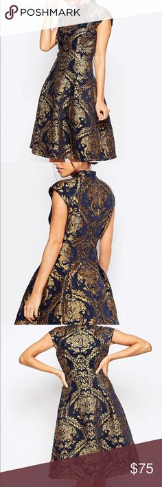 ChiChi London High Neck Skater Dress Baroque Print Very unique, worn once Chi Chi London High Neck Structured Skater Dress In Baroque Print - Navy/gold / UK 10 Amazing fabric feel and very comfortable! Chi Chi London Dress, Navy Gold, Formal Dresses, Wedding Dresses, Skater Dress, Fashion Tips, Fashion Design, Fashion Trends, Baroque