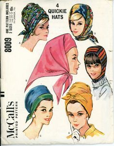 McCalls 8009 Misses 1960s Scarf Hats Pattern Millinery Wrap Turban Pleated Hood…