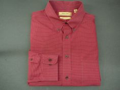 Roundtree & Yorke mens shirt XL Gold Label LS  Red check Long Sleeve Non Iron  #RoundtreeYorke #ButtonFront