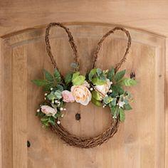 Easter Bunny Rose Wreath from Kirkland's Diy Osterschmuck, Easter Crafts For Toddlers, Diy Ostern, Easter 2020, Diy Easter Decorations, Hoppy Easter, Easter Eggs, Easter Wreaths, Xmas Wreaths
