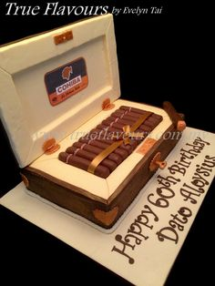 Cigar Box Cake. A box of edible Cohiba for a cigar connoisseur.