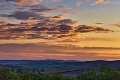 Autumn sunrise in scenic rolling countryside of fields, vineyards and villages called Moravian Tuscany, South Moravia, Czechia Sunrise Landscape, Morning Sky, Landscape Photographers, Tuscany, Countryside, Fields, Environment, Clouds, Colorful