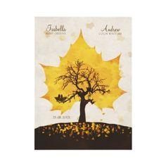 Tree of Love - Autumn Wedding Invitation. A romantic autumn/fall wedding invitation! Two love birds sitting in their new nest. Best wedding invitation for a fall / autumn themed wedding, for a orange, yellow themed wedding!!
