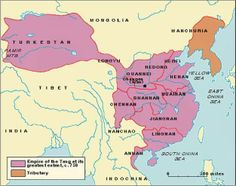 Period of great strength and prosperity: Tang dynasty (618-907AD) - at its greatest extent