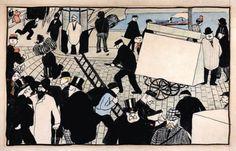 """Dal 28 settembre 2013 al 6 gennaio 2014 presso il Museo Guggenheim di #Venezia si tiene un'interessante mostra dal titolo """"Le avanguardie nella Parigi fin de siècle: Signac, Bonnard, Redon e i loro contemporanei"""". #mostre - In foto """"Scène de rue"""" di Fèlix Vallotton"""