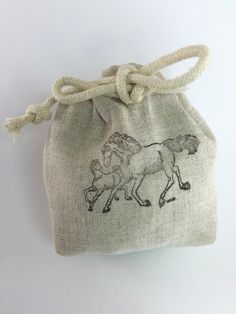 Party Favor Bag - Stamped Horse and Foal- Equestrian- Reusable Drawstring - Linen Look gifts, treats, jewelry and more! by SpanishVelvet on Etsy