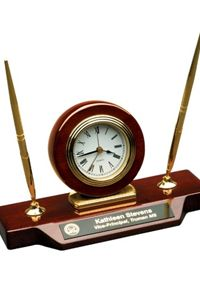 Custom Desk Clock with Pens $64.95 Engrave your company logo and any custom writing.