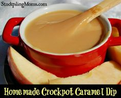 Homemade Crockpot Caramel Dip Recipe is so easy to make and tastes amazing! Perfect for fall.