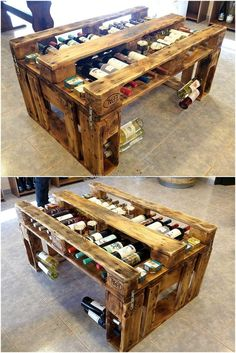 Here is an amazing recycled wood pallet bar table idea which contains the space to fit the bottles under the table and they are appearing nice because the table is not overall covered. The surface of the table is not like the common tables and the space to fix the bottles in the legs of the tables make this idea unique.