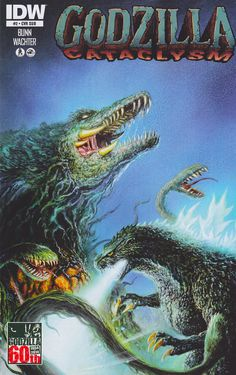 Awesome Godzilla versus Biollante art for Godzilla Cataclysm from IDW by Bob Eggleton.