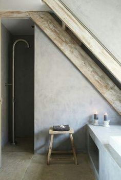 20 rustic bathroom design - The Grey Home Attic Bathroom, Attic Rooms, Wet Rooms, Attic Shower, Bathroom Mirrors, Bathroom Cabinets, Bathroom Faucets, Attic Apartment, Diy Shower