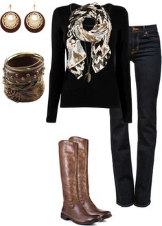 Business casual work outfit: black tee, skinny jeans, brown boots, black & brown scarf.