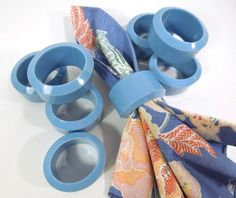 Blue Oval Napkin Rings Set of 8 tableware by ReneesRetro on Etsy #vintage #blue #napkinrings #etsy