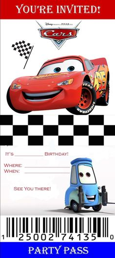 Cars Birthday Invitations Invitation Templates Ticket Disney