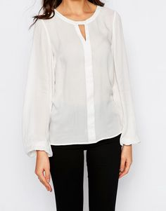 Y.A.S Tall Bell Sleeve Shirt. Semi-sheer woven fabric. Scoop neckline. Cut-out detail. Bell sleeves. Regular fit - true to size. Machine wash. 100% Polyester