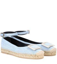 Roger Vivier Embellished blue fabric sandals