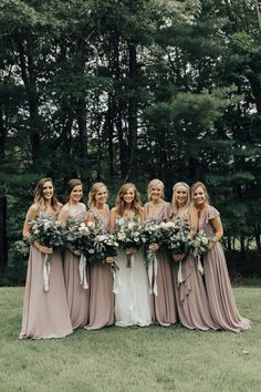 Mismatched long neutral bridesmaid dresses | Greenery Inspired Wedding with Mauve Details - Perfete #bridesmaids #bridesmaiddress #bridesmaidsdresses #dress #bridalparty #bridesmaid #bridesmaiddresses