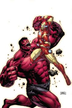 Take cover, here comes a rampaging engine of awesome force--and we're talking about our creative team of Jeff Parker and Gabriel Hardman bringing RED HULK into a new age of sci-fi adventure! The score has been settled, Red Hulk has been beaten by the Incredible Hulk decisively.