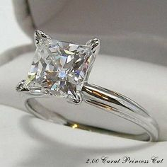 PRINCESS CUT ENGAGEMENT 2.00 CARAT RING HYBRID DIAMOND / 2 CT. 14KT. GOLD EXACTLY