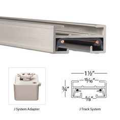 "WAC Lighting JT2 24"" Length Single Circuit J-Track Section Brushed Nickel Indoor Lighting Track Lighting Track and Rail"
