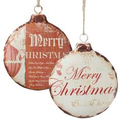 Red and White Merry Christmas Metal Disc Ornaments
