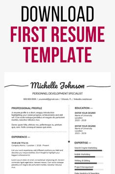 Take for example the First Job Resume Template which show application resumes for college students. Free download Build A Resume, How To Make Resume, Create A Resume, Resume Template Examples, Resume Template Free, Creative Resume Templates, First Job Resume, Resume Profile, Teaching Resume