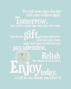 Enjoy Today Children's Art Print . Quote Saying . This Day Is A Gift . Nursery Poster . Baby Shower . Children's Room Decor