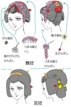 Maiko and geisha hairstyles Top one is a maiko (I believe she's a junior mai. Maiko and geisha Japanese Geisha, Japanese Kimono, Japanese Outfits, Japanese Fashion, Moe Manga, Geisha Hair, Memoirs Of A Geisha, Japanese Costume, Hair Reference